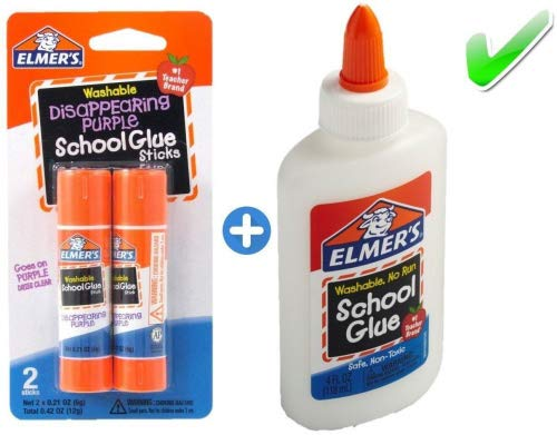 School Stick (Elmer's bundle Washable Liquid School Glue, White, Dries Clear, 4 fl oz Plus Disappearing Purple Elmer's School Glue Stick, 6g, 2pk)