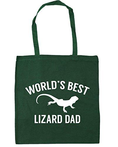 HippoWarehouse mundos mejor papá Lagarto bolsa de la compra bolsa de playa 42cm x38cm, 10litros verde oscuro