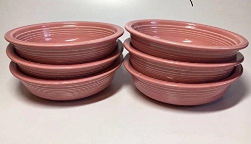 """Fiestaware Homer Laughlin Pink Rose Soup/Cereal Bowl 7"""" set of 6"""