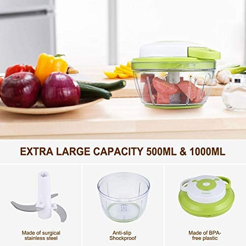 Manual Chopper, Handheld Vegetable Choppers with 3 Blades, Multifunction Food Chopper for Chopping/Slicing/Mixing Fruit, Vegetable and Meat(500ml)