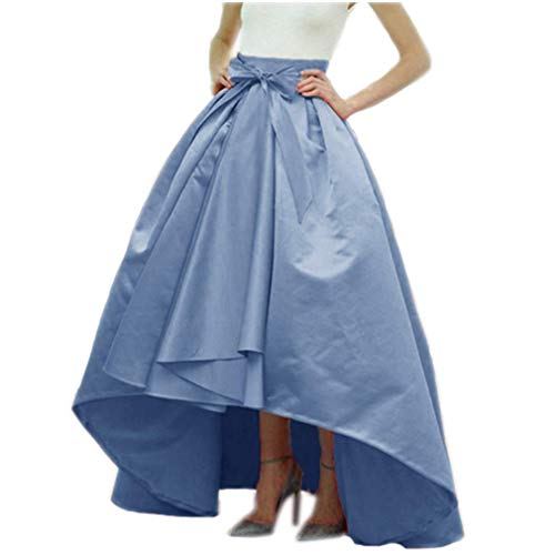 DreamSkirts Women's Long Taffeta Bowknot Maxi Skirt A-Line High-Low Prom Party Skirts with Pockets Dusty Blue