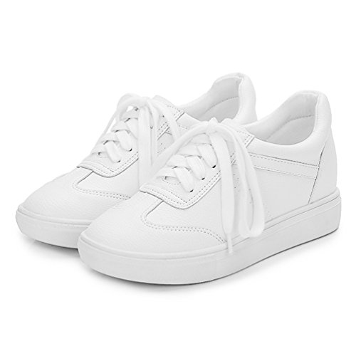 Cuir Outdoor 39 Mode Loisir Running Sport 34 Antidérapantes Baskets Multisport Femme Blanc Casual de JRenok Lacets Sneakers Chaussures Pwx8FTOq