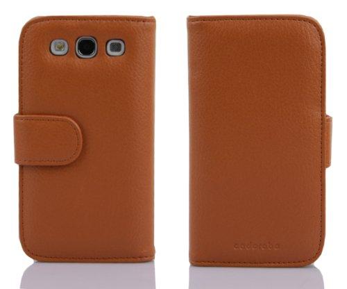 Cadorabo - Funda Samsung Galaxy EXPRESS 2 (G3815) Book Style de Cuero Sintético en Diseño Libro - Etui Case Cover Carcasa Caja Protección con Tarjetero en MARRÓN-COGNAC MARRÓN-COGNAC