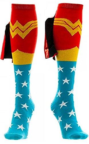 Wonder Woman Cape Knee High Socks 1 x - Woman Wonder Socks Cape