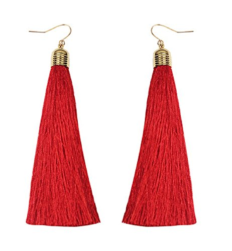 Mina Gold Long Tassel Draping 4 inch Drop Extra Long Shoulder Duster Red Earring