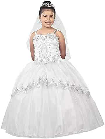 c7cee61e7d07 Alegria Kids Big Girls White Virgin Mary Double Strap Glitter Bolero  Communion Dress 7-24