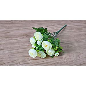 JIAHUAHUHH Single Bundle of European Artificial Flowers, Fake Flowers, Single Decorative Silk Flowers,White,31cm 69