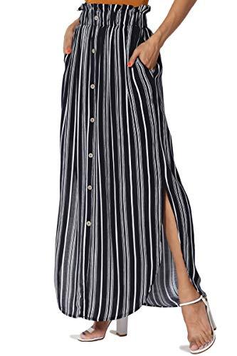 Woven Skirt Elastic Waist (TheMogan Women's Striped Button Front Elastic Waist Pocket Maxi Skirt Navy S)