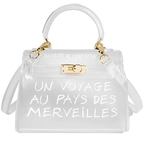 Top-Handle Clear CrossBody Bag for Women Candy Color Jelly Clutch Handbag Women's Transparent Shoulder Bag White