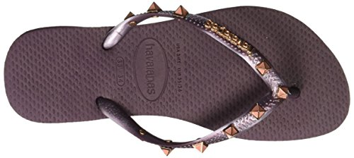 HavaianasSlim Hardware - sandalias mujer Morado - Purple (Aubergine/Aubergine 7039)