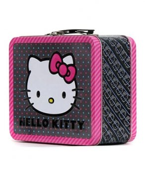 Hello Kitty Pink Bow All Over Print Lunch Box Tin SIZE Approx 8