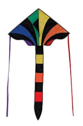 In the Breeze Rainbow Sparkler 46 Inch Fly-Hi Delta Kite - Single Line - Ripstop Fabric - Includes Kite Line and Bag - Great Beginner Kite