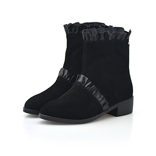 AmoonyFashion Womens Round-Toe Closed-Toe Low-Heels Boots With Rough Heels and Back Zipper Black AMGoU