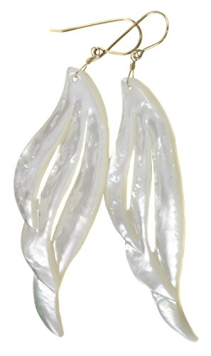 14k Yellow Gold Mother of Pearl Earrings White Carved Extra Large MOP Long Wing Shaped 3.4
