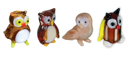 Looking Glass Miniature Collectible - Owls (4-Pack)