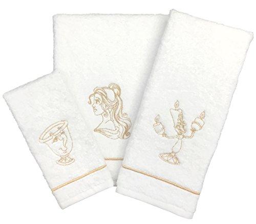 Disney Beauty & The Beast Gold Sketch 3 Piece Cotton Bath Towel Set (Official Disney Product)