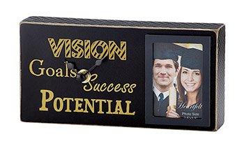 US Gifts Graduation- Black/Gold- Success, Goals, Vision, Potential - Tabletop Frame/Clock (Pack of 2)