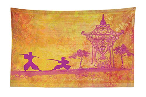 (Lunarable Japanese Tapestry, Silhouette of Ninjas Asian Landscape Ancient Asian Theme Oriental Design, Fabric Wall Hanging Decor for Bedroom Living Room Dorm, 45 W X 30 L Inches, Purple and)