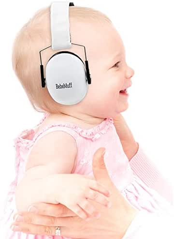 Bebe Muff Hearing Protection - Best USA Certified Ear Muffs, Ivory White, 2 Years+