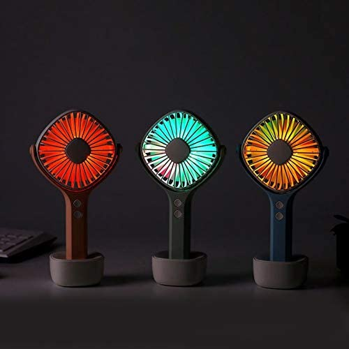 Ultra-Quiet with USB Cable Desktop with Base Rotating and Shaking Head Fan Color : C Handheld Charging Small Fan Macaron Essential Summer Artifact JIAOBA USB Fan