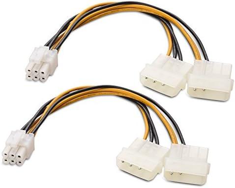 Cable Matters Câble d'alimentation PCIe à Molex à 6 Broches de Ensemble 2 Pièces, 2 Molex à PCIe à 6 Broches - 15cm