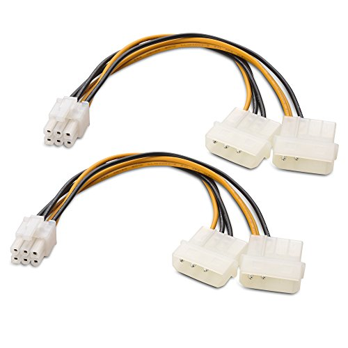Cable Matters 2-Pack 6 Pin PCIe to Molex Power Cable, 2 Molex to 6 Pin PCIe - 6 Inches