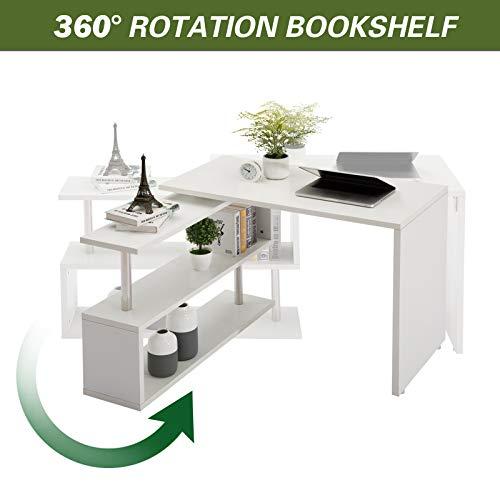 """40"""" Rotating Desk L-Shaped Swivel Corner Computer Desk W/Storage Bookshelves for Home Office White"""