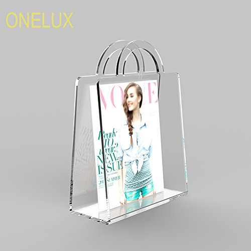 Craftworks Magazine - acrylic perspex contemporary magazine / newspaper / brochure rack A4 Size ,Lucite Book Briefcase (C1 clear)