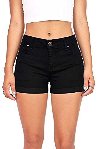Wax Women's Juniors Perfect Fit Mid-Rise Denim Shorts (L, Black) by Wax