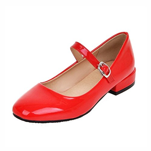 Agodor Women's Flat Ankle Strap Mary Janes Work Shoes Patent Leather Casual Ballet Flats Shoes Red ()