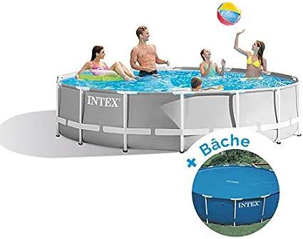 Pack piscina tubular redonda Intex Prism Frame 4,57 x 1,22 m + ...