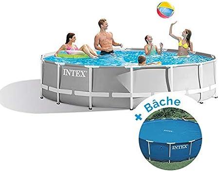 Pack piscina tubular redonda Intex Prism Frame 4,57 x 1,22 m + – lona
