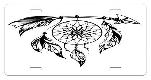 Black and White Lunarable Tribal License Plate by High Gloss Aluminum Novelty Plate 5.88 L X 11.88 W Inches Native American Hand Drawn Style Illustration of Dream Catcher Ethnic Print
