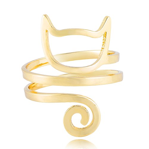 - SENFAI Hollow Cat Face Ring can Adjustable (Gold)
