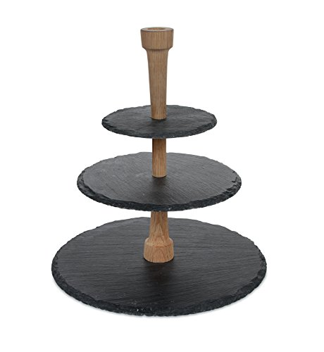 Boska Holland 359007 Cheese Tower, 3 Tier Serving Tray, Slate and Oak Wood, Pro Collection