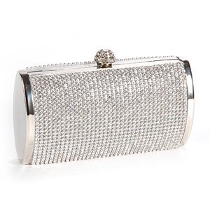 Anladia Shimmering All-Over Diamante Covered Evening Bag Small Box Shape Clutch