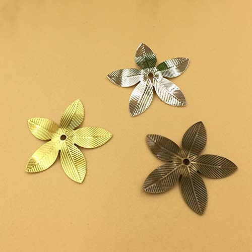 Calvas 26mm Five Leaves Filigree Charms/Pendant Copper with Antique Bronze/Silver Handmade,Hairpin Fallen Petals Parts Vintage Jewelry - (Item Diameter: Silver 50pcs)