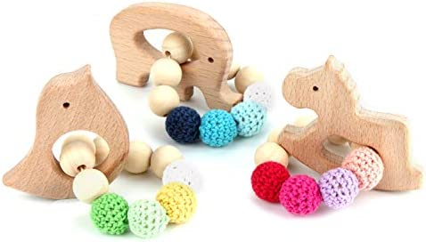 Wooden Hippo Teether Toddler Teething Toy Silicone Beads Baby Play Gym Pram Toys