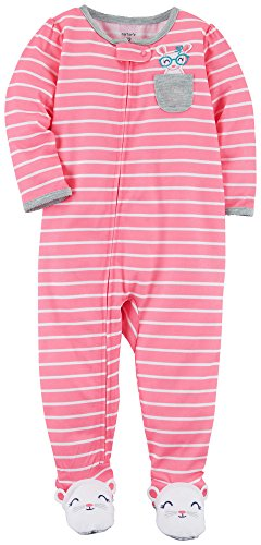 (Carter's Baby Girls' 1 Piece Striped Mouse Pocket Snug Fit Cotton Pjs 18 Months)