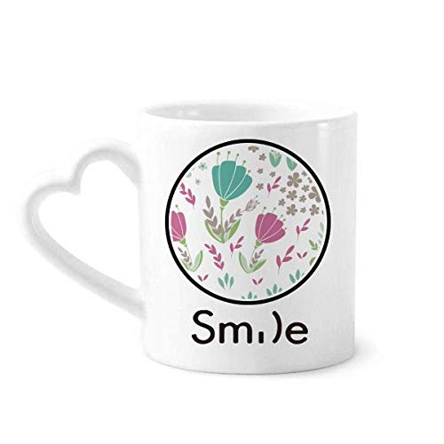 Punch Flower Plant Paint Smile pattern Mug Cup Pottery Heart Handle