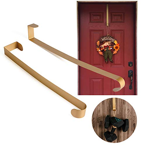 Joy-Leo 2 Pack 14 Inch Ultra-Thin & Heavy Duty Gold Metal Door Wreath Hanger(22 lb Max/Gift Box Edition), Over the Door Utility Hook for Wreath & Christmas Ornament & Backpack & Handbag & Welcome Sign