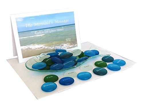 The Mermaid's Message Assortment of 100 Frosted Faux Sea Glass, Motivational, Inspiring and Encouraging Single Words With Fabulous Fish Dish Display.
