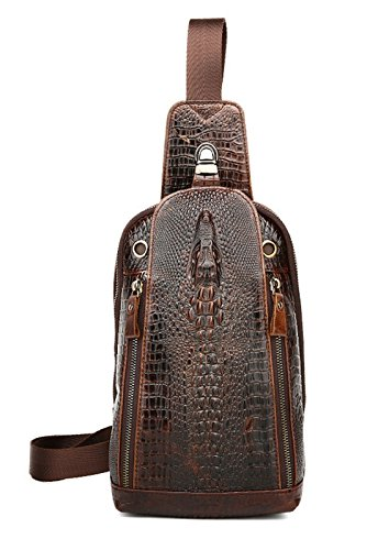 SEALINF Mens Crocodile Embossed Leather Chest Bag Fanny Pack Crossbody Outdoor Bag (deep -