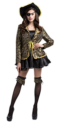 [Toyobuy Halloween Cosplay Pirate Costume One-eyed Witch Queen Dress Yellow M] (One Eyed Cyclops Costume)