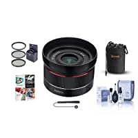 Rokinon 24mm F2.8 Full Frame Auto Focus Lens for Sony E - Bundle with 49mm Filter Kit, Lens Pouch, Cleaning Kit, Capleash II, PC Software Package