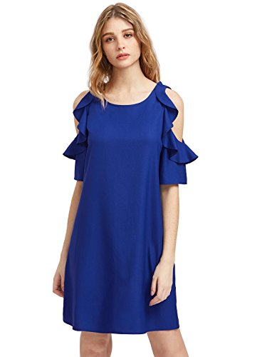 Milumia Women's Summer Cold Shoulder Ruffle Sleeves Shift Dress (Large, Royal Blue-1) (Royal Blue Ones)