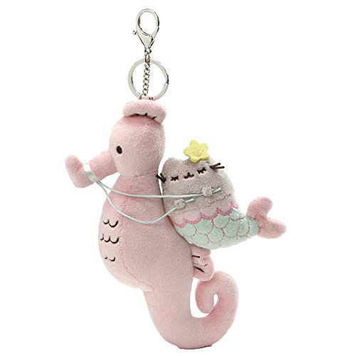 GUND Pusheen Mermaid and Seahorse Magical Kitties Plush Deluxe Keychain Clip, Multicolor, 8.5""