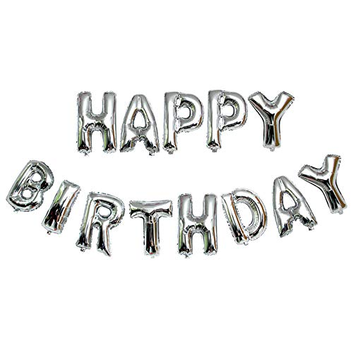 Balloon for Party Pulison Birthdays and Wedding Decorations Self Inflating Happy Birthday Banner Balloon Bunting Silver 16 inch Letters Foil