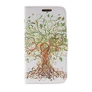 HC-Patrón de Kinston Tree Art PU Leather Case cuerpo completo con soporte para Samsung i9500 S4