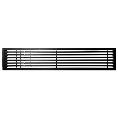 Architectural Grille 200063635 AG20 Series 6'' x 36'' Solid Aluminum Fixed Bar Supply/Return Air Vent Grille, Black-Gloss with Left Door by Architectural Grille